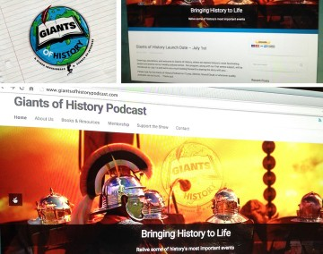 Giants Of History Podcast marketing layout